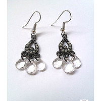 Crystal Drop Vintage Style Earrings - Upcycle Jewellery