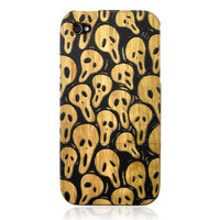 Bamboo Phone Case With Scream EMbossment For iPhone 4/4S