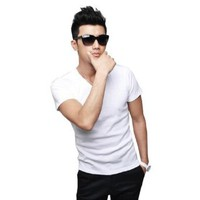 Amazon.com: 2013 2 Colors Black/White Mens Korean Solid Basic Tee V-neck Short Sleeve T-shirt: Clothing