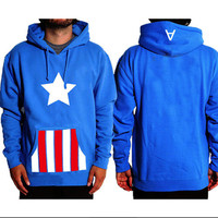 NEW Captain America Super Hero Casual Hoodie Coat Cosplay Costume