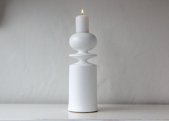 Candle holder White tower One lathed out by DesignAtelierArticle