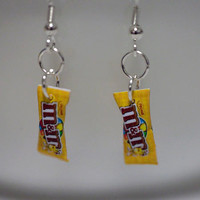 Kawaii Miniature Food Earrings - MINI M&M Peanut Candy