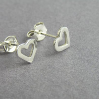 Heart Earrings - Heart Studs - Sterling Silver Post Earrings