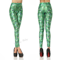 Stunning Gree Peacock Color Printing Leggings Pant from Charming Galaxy