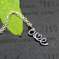 Two Initials Wire Letter With Heart Necklace, Personalized Lovers Jewelry, Anniversary Gift