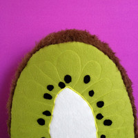 Giant Stuffed Kiwi Pillow - Deluxe Embroidery - Half Kiwi Accent Pillow - Food Toy