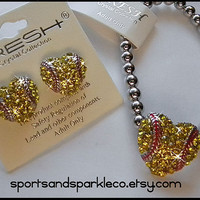 Softball Heart Bling Rhinestone Stretch Sports Bracelet and Earring Set