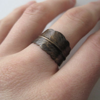 Brass Feather Ring Dark Patina