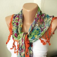 Two side Green  and Purple, Orange Scarf from %100 coton with flora desing and rose lace