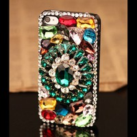 3D Flower Charm Luxury Rhinestones Phone Case for iPhone 5 4S 4G 3GS - Crystals iPhone Cases - Apple iPhone Cases - Phone Cases Personalized Couples Jewelry | Occasions Uncommon Gifts | Unique Phone Cases | Worldwide Shipping