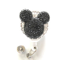 Black Mickey Mouse Badge Reel, Retractable Badge Reel