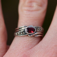 Silver Garnet and Marcasite Ring by TwiceBakedVintage on Etsy
