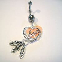 Belly Button Ring Barbell Clear Crystal Silver Tone 2 Hearts 3 Feathers