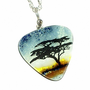 Acacia Tree on African Sunset Fused Art Glass Pendant Necklace | M2bC - Jewelry on ArtFire