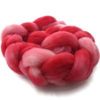 Hand Dyed Roving Pink and Red Pink Tulips by flickertailfibers