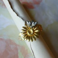 Sterling Silver and Vermeil Flower and Bee Ring