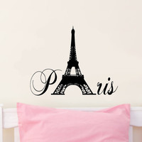 Paris with Eiffel Tower Vinyl Wall Decal Sticker Art