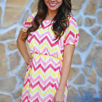 Meet The Parents Chevron Dress: Pink | Hope's
