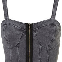 Denim Zip Bralet - Tops  - Apparel  - Topshop USA