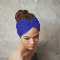 Royal Blue Turban Twist headband Plain color by Rumraisina on Etsy