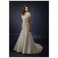 Chic White Satin A line with Sashes Wedding Dress