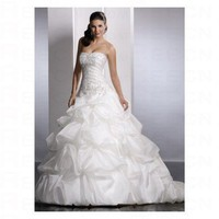 Luxurious White Satin Strapless Rouched Skirt Ball Gown Style Wedding Dress