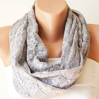 Tulle Scarf, Grey Gray Infinity, Cowl Scarf