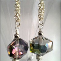 Chinese Crystal Orb Green Vitrail Silver Chain Dangle Earrings