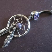 Purple Dream Catcher Belly Button Ring- Dreamcatcher Jewelry Navel Piercing Bar Barbell