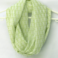 Light Green Infinity Scarf. Spring Scarf. Circle Scarf. Women Accessory.