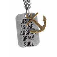 Jesus is the Anchor - Guys Christian Necklace: Clothing