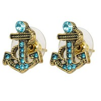 Antique Blue Pattern Bronze Rhinestone Paved Nautical Anchor Stud Earrings: Jewelry