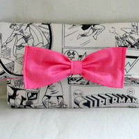 Superman Black and Grey Comic Simple Wallet or Mini Clutch with Pink Interior and Pink Bow