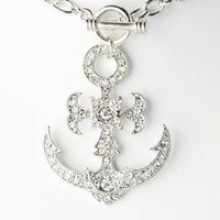 Floral Flower Ice Clear Crystal Rhinestone Sailor Boat Anchor Pendant Necklace: Jewelry