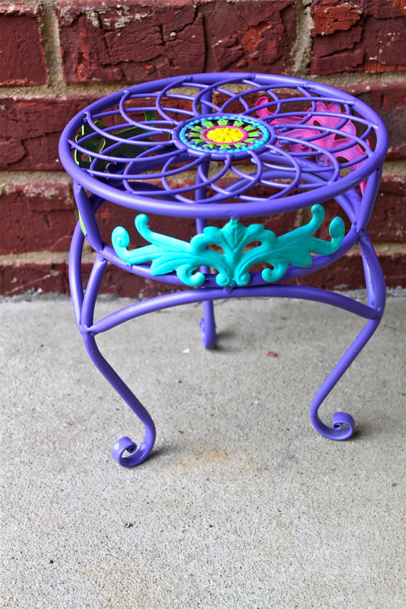 Purple Plant stand  Metal Teal Pink Colorful by AquaXpressions