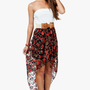A'GACI Floral Printed Lace Hi Lo Dress W/ Bow Belt - DRESSES
