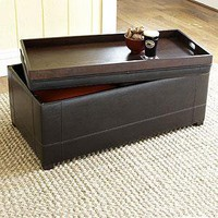 Owen Bi-Cast Leather Ottoman, Chocolate - Chairs and Ottomans - Cost Plus World Market