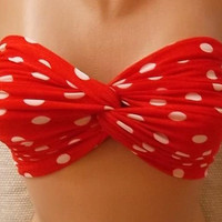 09-Bandeau - Bikini Top - Spandex Bandeau - twisted bandeau - Bandeau  - Red/white polka dot