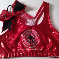 Silver Spidey  Metallic Sports Bra and Bow Set by SparkleBowsCheer