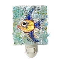 RECYCLED GLASS ANGEL FISH NIGHT LIGHT