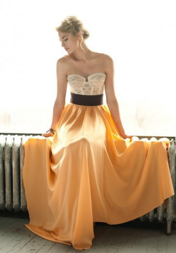 A-line Orange Sweatheart Belt Floor Length Dress