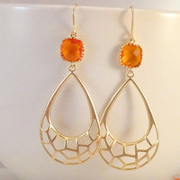 Gold Citrus Drop Earrings-fire opal, modern earrings, gift for sister mother mom grandmother grandma, mothers day gift, simple earrings