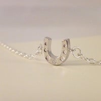 Tiny Horseshoe Necklace with Rhinestone-small necklace, silver necklace, horseshoe neckalce, cute necklaces