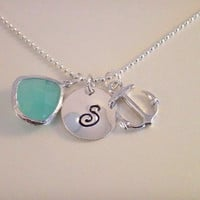 Nautical Anchor Personalized Necklace-aqua gemstone, nautical necklace