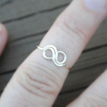 Toe or Knuckle Wire Wrapped Ring Tiny Infinity