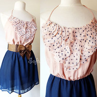 NEW Dusty Pink/ Navy Blue Polka Dot Petals High Hi Low Airy Chiffon Halter Dress