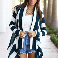 Teal Stripes Drape Cardigan - Furor Moda - Tops - Dresses - Jackets - Vintage