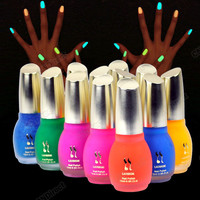 DN00 12 Colors 15ml Fluorescent Neon Nail Art Polish Glow in Dark Nail Varnish