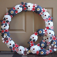 4th of July Wreath Red White Blue Paper Flowers USA Patriotic Americana July Fourth large 24 inch