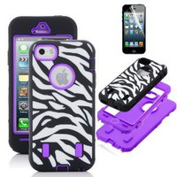 Pandamimi ULAK(TM) Purple White Zebra Combo Hard Soft High Impact iPhone 5 Armor Case Skin Gel with screen protector: Cell Phones & Accessories